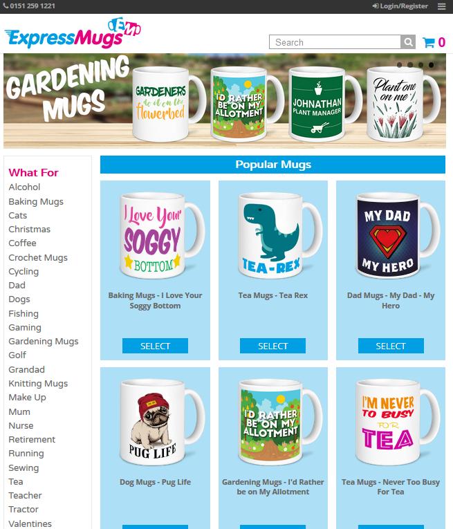 Express Mugs homepage screenshot